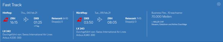 Miles And More Praemienflug Swiss Business Class Zuerich Dubai