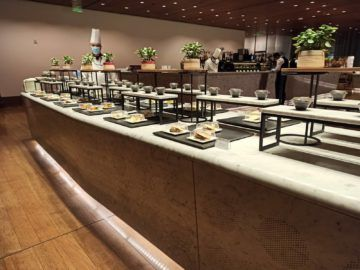 Qatar Airways Al Mourjan Business Class Lounge Corona Restaurant Buffet Sushi