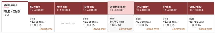Skywards Praemienflug Emirates First Class Mle Cmb Oktober 2021