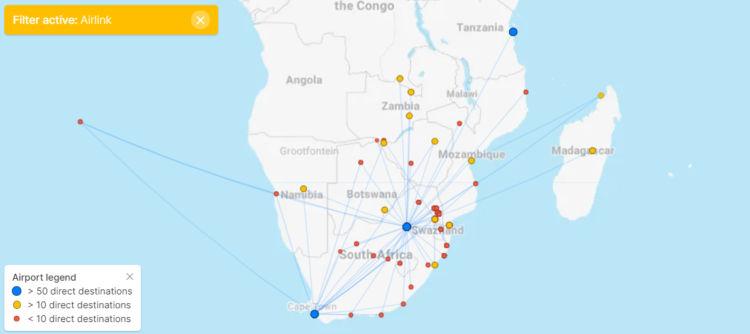 Streckennetz Airlink Flightconnections