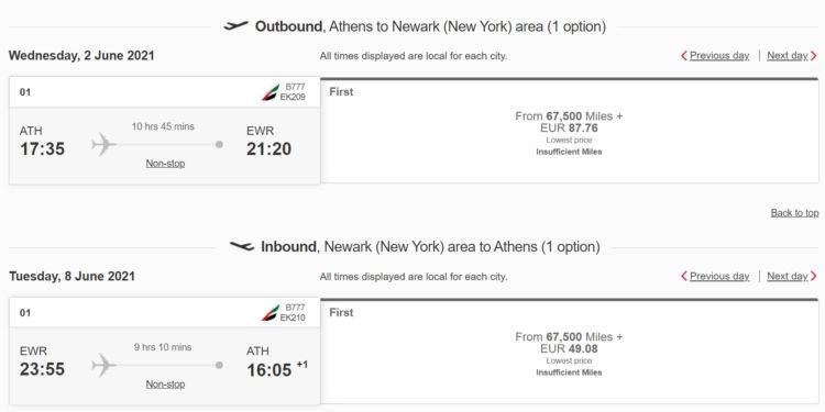 Emirates Skywards Praemienflug Emirates First Class Athen Newark