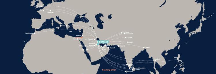 Gulf Air Streckennetz Februar 2021