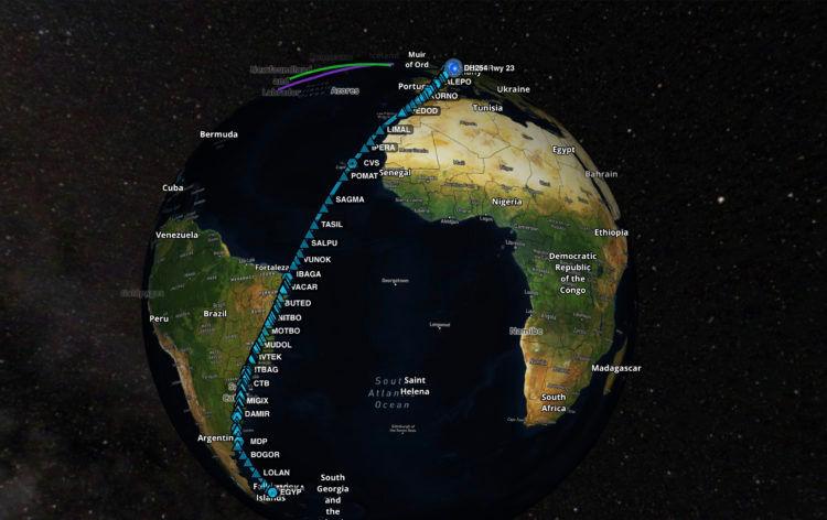Lufthansa Rekordflug Routing Hamburg Falkland Inseln