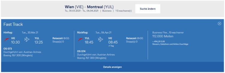 Praemienflug Miles And More Austrian Airlines Wien Montreal
