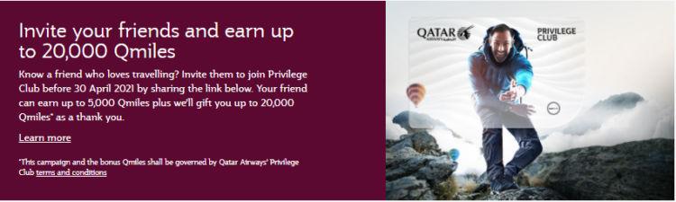 Qatar Airways Privilege Club Freunde Werben Banner