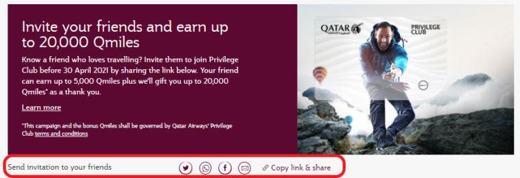 Qatar Airways Privilege Club Freunde Werben Link Verschicken