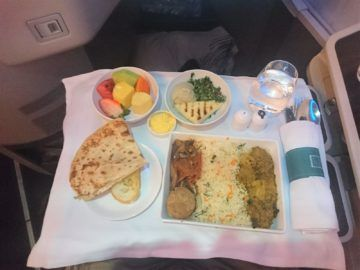 Srilankan Airlines Business Class A330 Vegetarische Hauptspeise