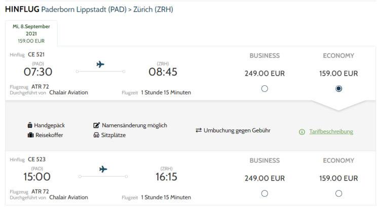 Green Airlines Flugverbinung Paderbord Zuerich
