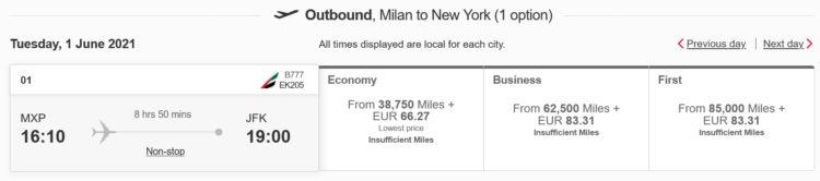 Emirates Skywards Praemienfluge Emirates Mailand New York