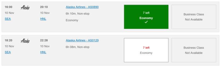 Executive Club Suchergebnis Alaska Airlines Seattle Honolulu