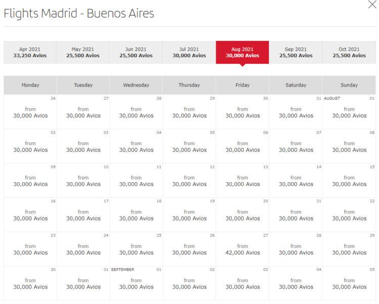 Verfügbarkeit von Prämienflügen von Madrid nach Buenos Aires im August 2021