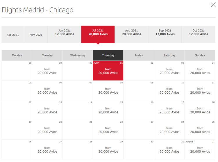 Verfügbarkeit von Prämienflügen von Madrid nach Chicago im Juli 2021