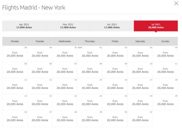 Verfügbarkeit von Prämienflügen von Madrid nach New York im Juli 2021