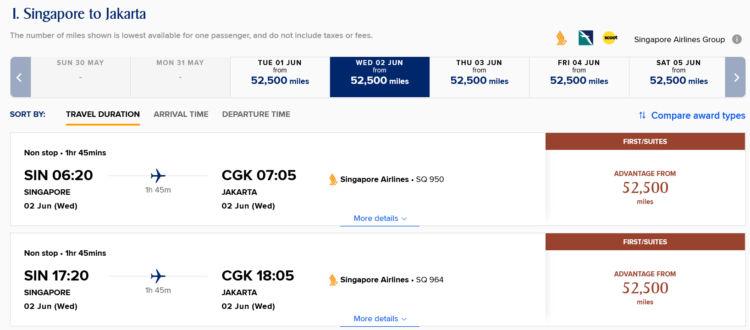Krisflyer Advantage Award Singapore Airlines First Class Singapur Jakarta
