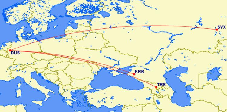 Neue Eurowings Routen Von Duesseldorf Nach Russland Und Georgien auf Great Circle Mapper