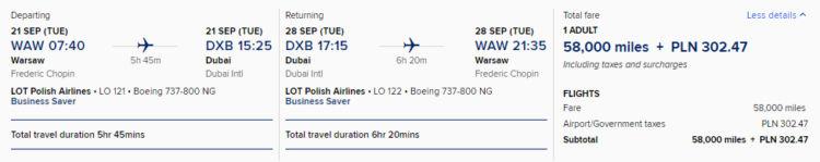 Prämienflug bei KrisFlyer mit Lot Polish Airlines von Warschau nach Dubai in Business Class