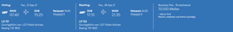 Prämienflug bei Miles & More mit Lot Polish Airlines von Warschau nach Dubai in Business Class
