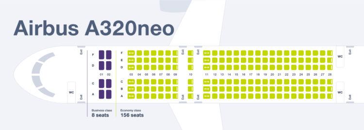 Sitzplan im Airbus A320neo der S7 Airlines