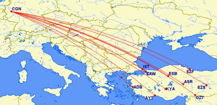 Turkish Airlines Routen ab Köln/Bonn in die Türkei