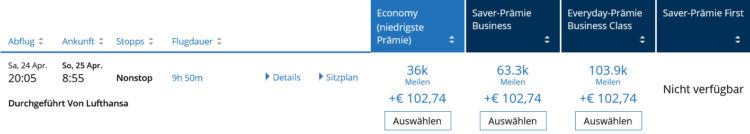 United Mileage Plus Lifemiles Prämienflug Lufthansa Frankfurt Male