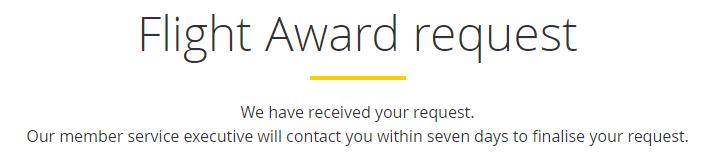 Asia Miles Flight Award Request