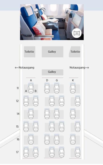 Edelweiss Seatmap Business Class A340 300