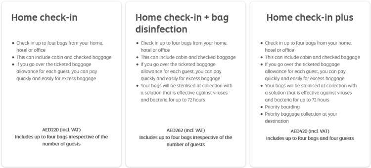 Etihad Airways Home Check In Pakete