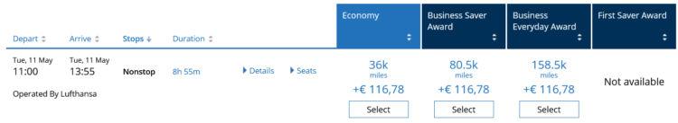 Mileageplus Praemienflug Lufthansa Business Class Frankfurt New York