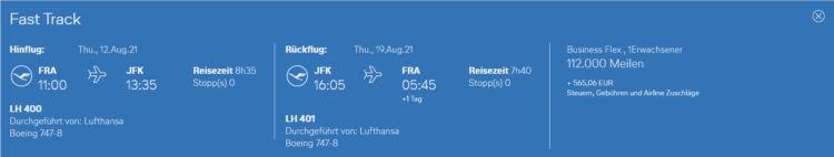 Miles And More Praemienflug Lufthansa Business Class Frankfurt New York
