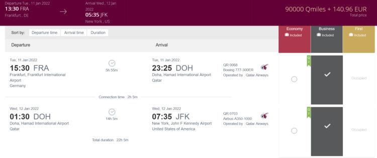 Privilege Club Praemienflug Qatar Airways Business Class Fra Doh Jfk