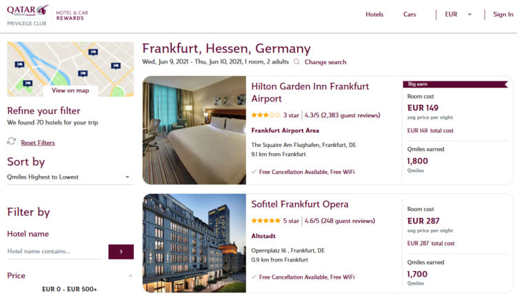 Qatar Airways Privilege Club Hotels And Car Rewards Meilen Sammeln
