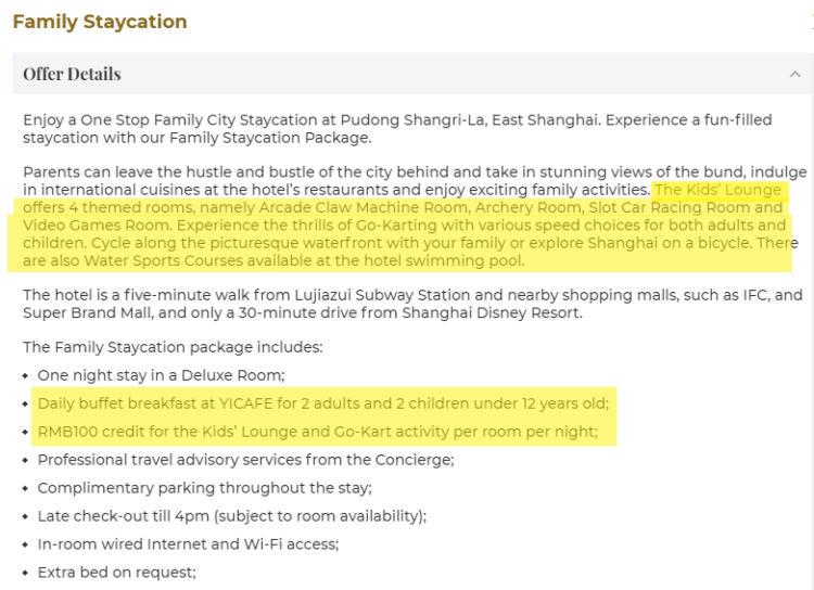 Shangri La Pudong Family Rate Description