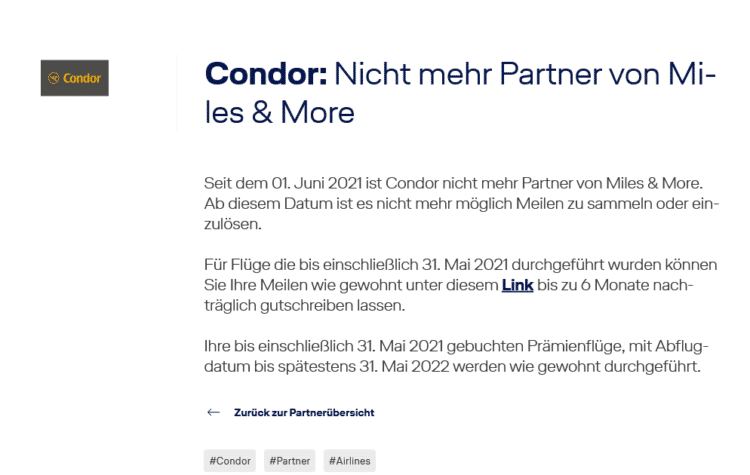 Condor Kein Miles And More Partner Mehr