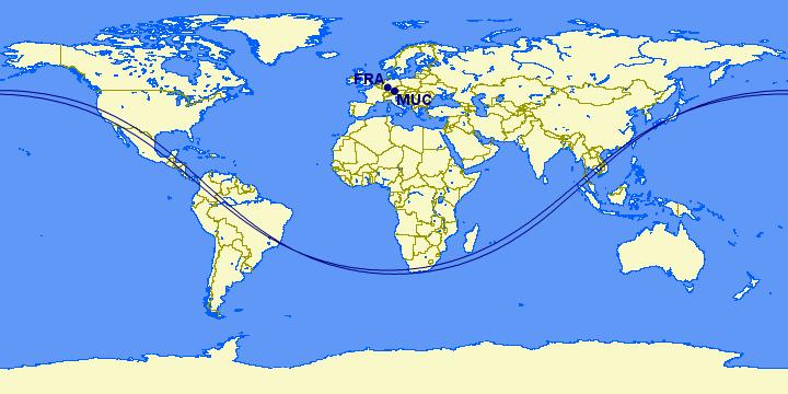 Great Circle Mapper 5750 Meilen Ab Frankfurt Muenchen