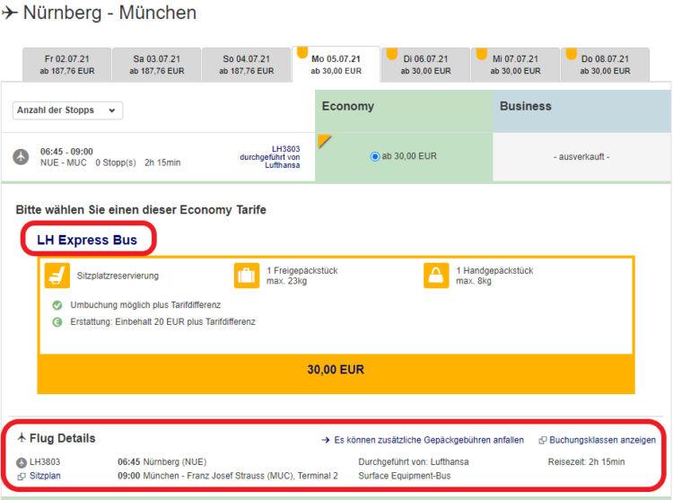 Lufthansa Express Bus Nuernberg Muenchen