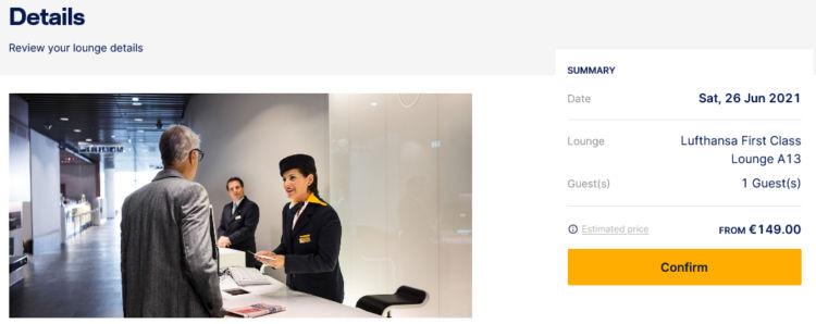 Lufthansa First Class Lounge A13 149 Euro