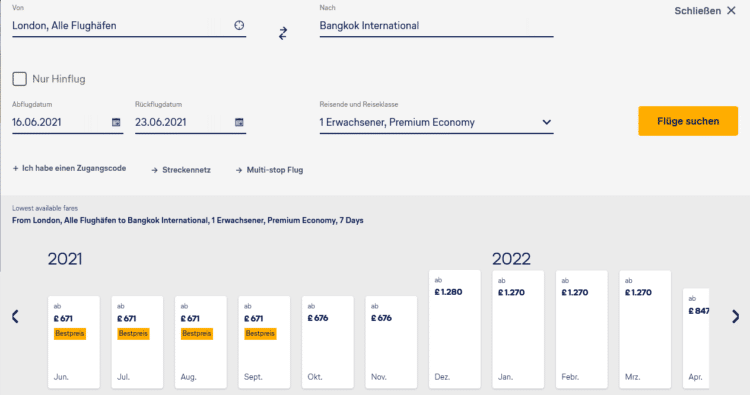 Lufthansa Price Finder London Bangkok