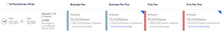 Miles And More Praemienflug Lufthansa First Class Fra Sfo