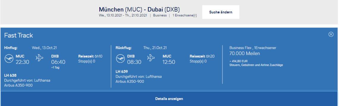 Miles And More Praemienflug Lufthansa Muenchen Dubai