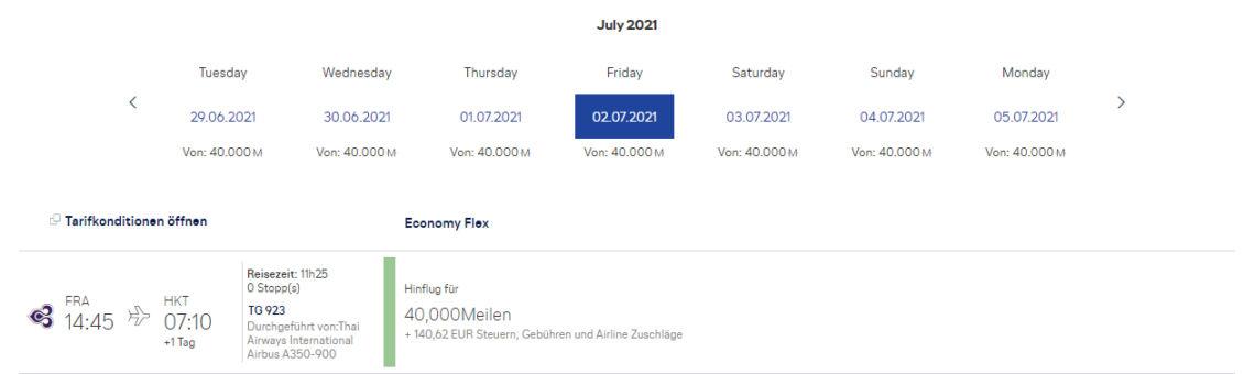 Praemienflug Miles And More Thai Airways Frankfurt Phuket Economy