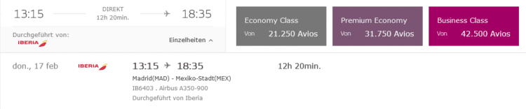 Iberia Plus Praemienflug Business Class Mad Mex