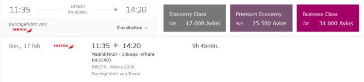 Iberia Plus Praemienflug Business Class Mad Ord