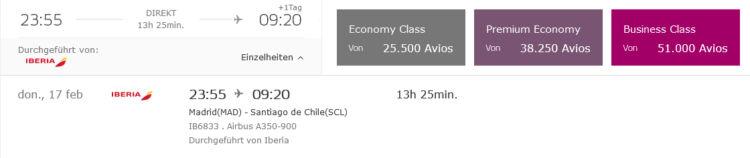 Iberia Plus Praemienflug Business Class Mad Scl