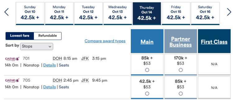 Mileage Plan Praemienflug Qatar Airways Doh Jfk
