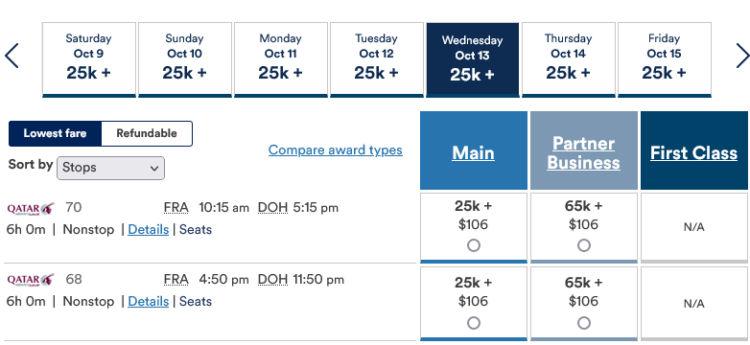 Mileage Plan Praemienflug Qatar Airways Fra Doh