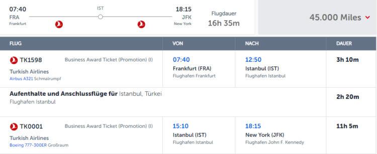 Miles And Smiles Praemienflug Turkish Airlines Fra Ist Jfk