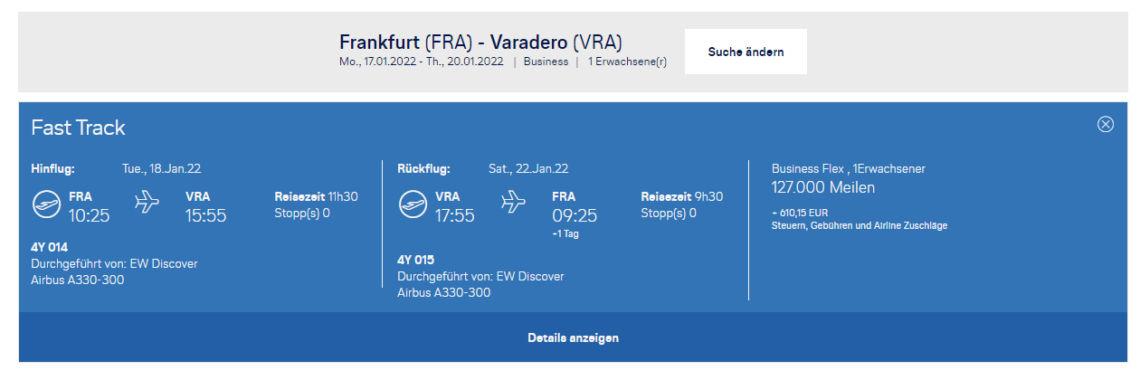 Praemienflug Miles And More Eurowings Discover Frankfurt Varadero