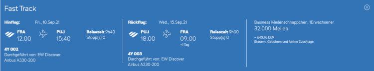 Eurowings Discover Meilenschnaeppchen Business Class Frankfurt Punta Cana
