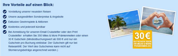 Kreuzfahrten.de Newsletter Anmeldung 350 Miles Mores Meilen