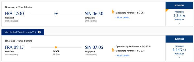 Singapore Airlines Frankfurt Singapur Vaccinated Traveller Lane